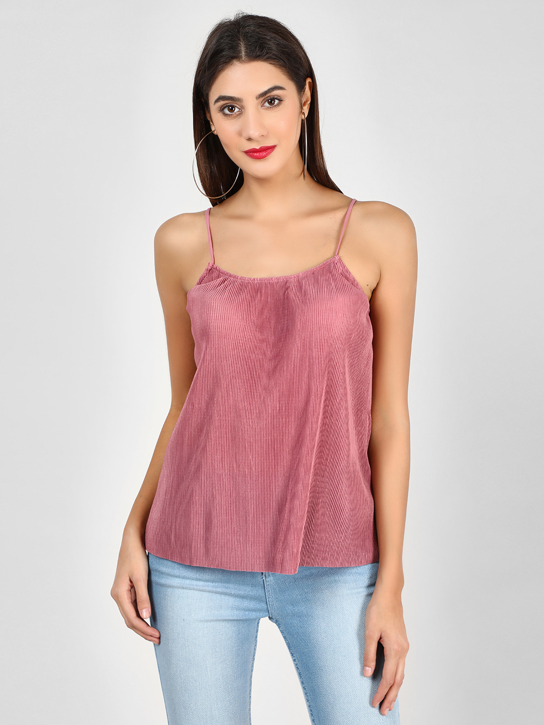 Glamorous Pink Pleated Cami Top 1
