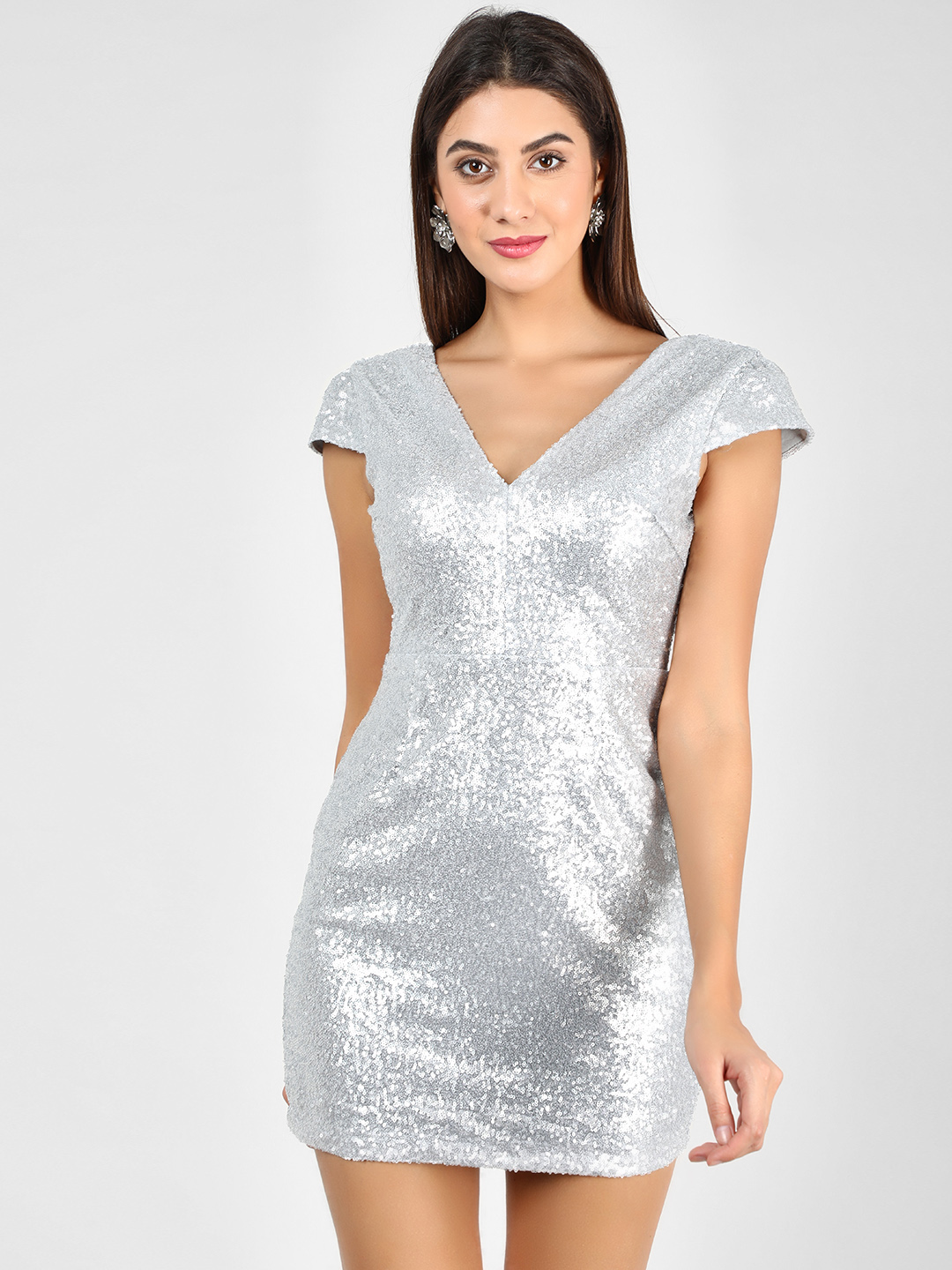 Glamorous Silver Sequined Mini Bodycon Dress 1