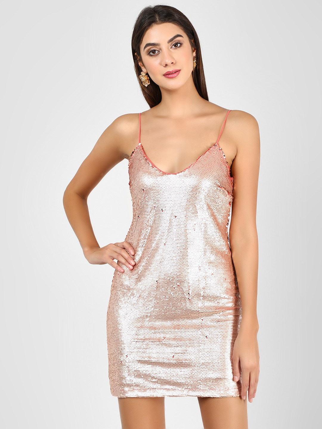 Glamorous Rose Gold Sequined Bodycon Dress 1