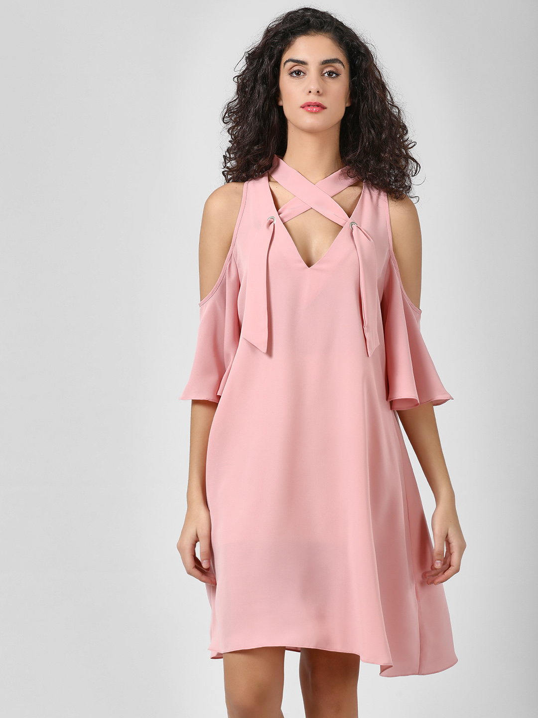 Glamorous Pink Cold Shoulder Asymmetric Dress 1