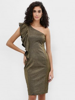 Cover Story Shimmer One Shoulder Bodycon Dress
