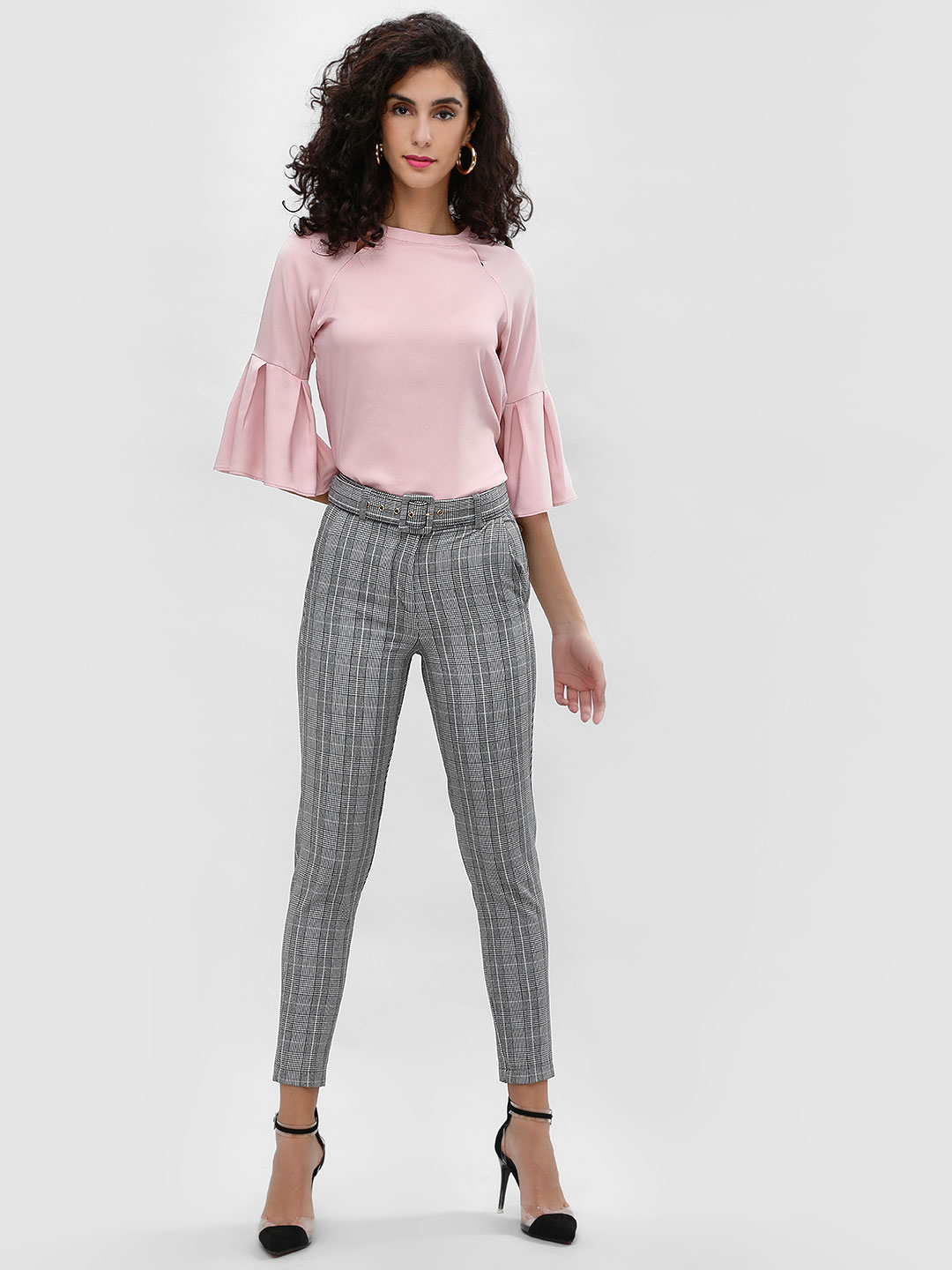 Cover Story Grey Plaid Skinny Fit Trousers 1