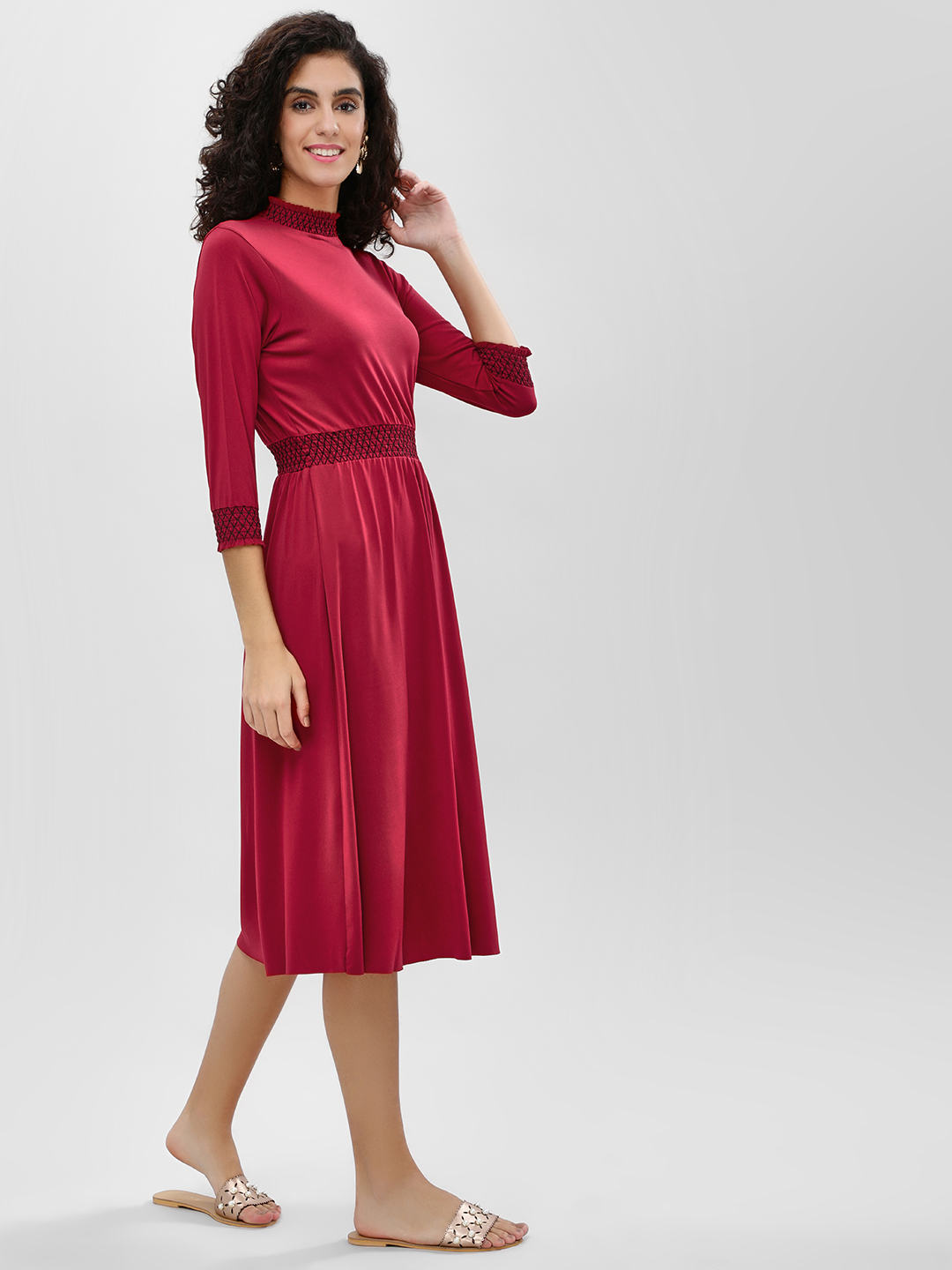 Cover Story Wine Ruffle Trim Smocked Midi Dress 1