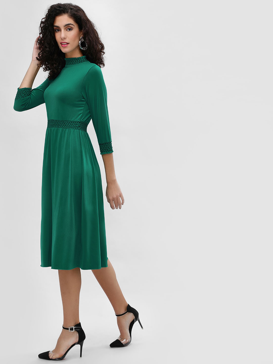 Cover Story Green Ruffle Trim Smocked Midi Dress 1