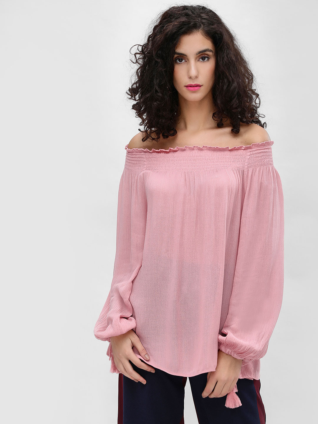 Cover Story Blush Smocked Off-Shoulder Flared Top 1