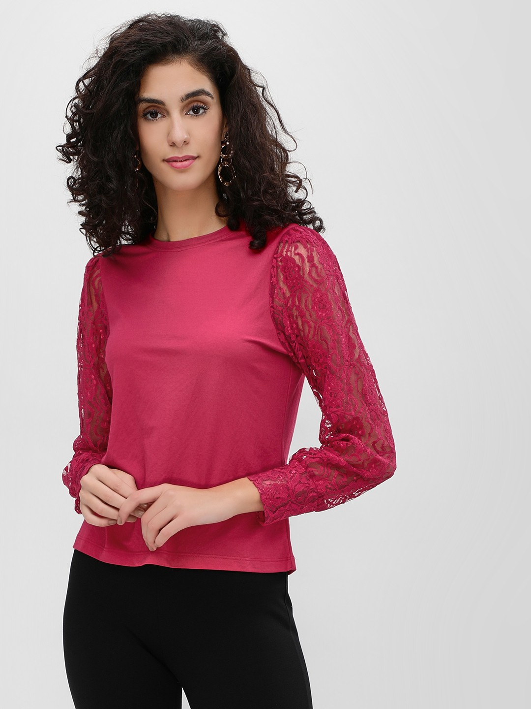 Cover Story Wine Long Lace Sleeve Top 1