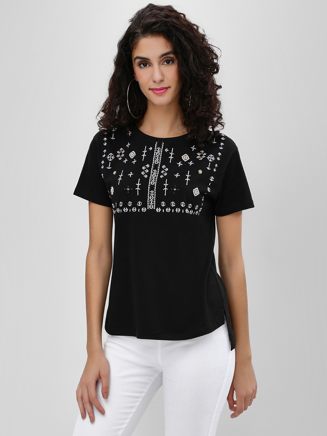 Cover Story Black Embroidered Yoke Step Hem T-Shirt 1