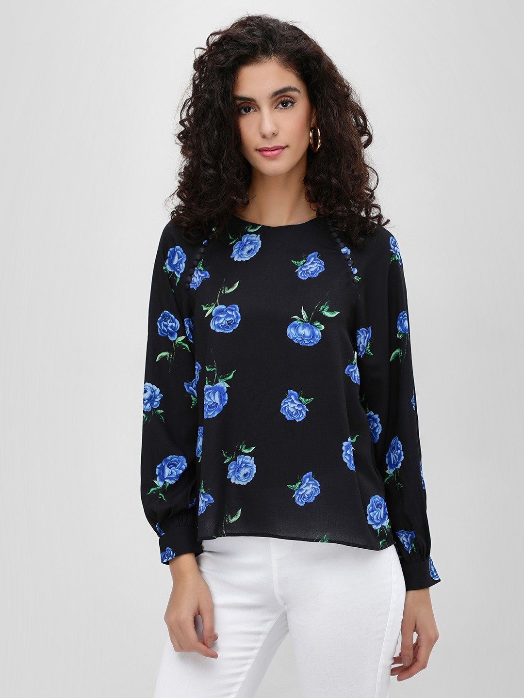 Cover Story Blue Buttoned Side Floral Printed Top 1