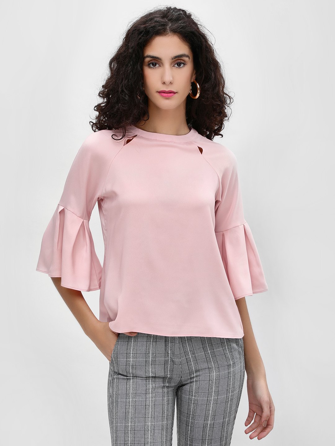 Cover Story Pink Cut-Out Detail Flared Sleeve Blouse 1