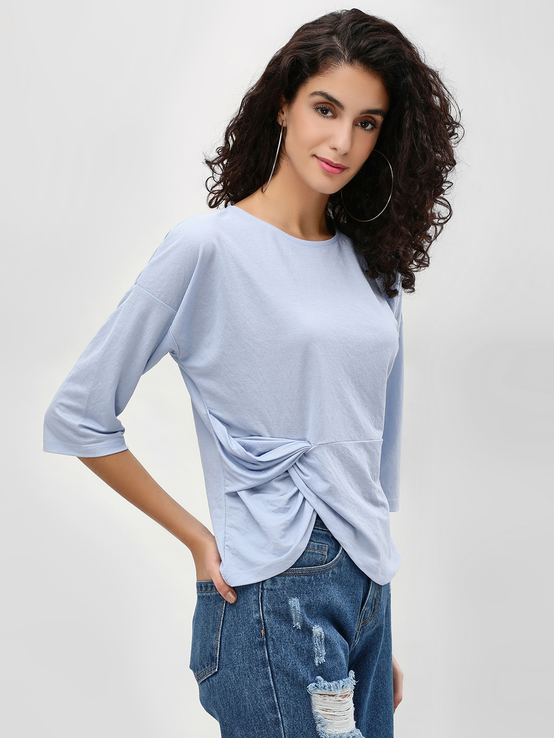 Cover Story Blue Twisted Side Knot Blouse 1