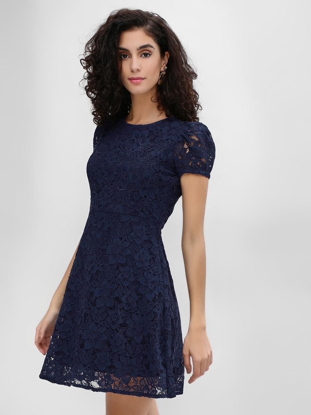 Cover Story Navy Puffed Sleeve Lace Skater Dress 1
