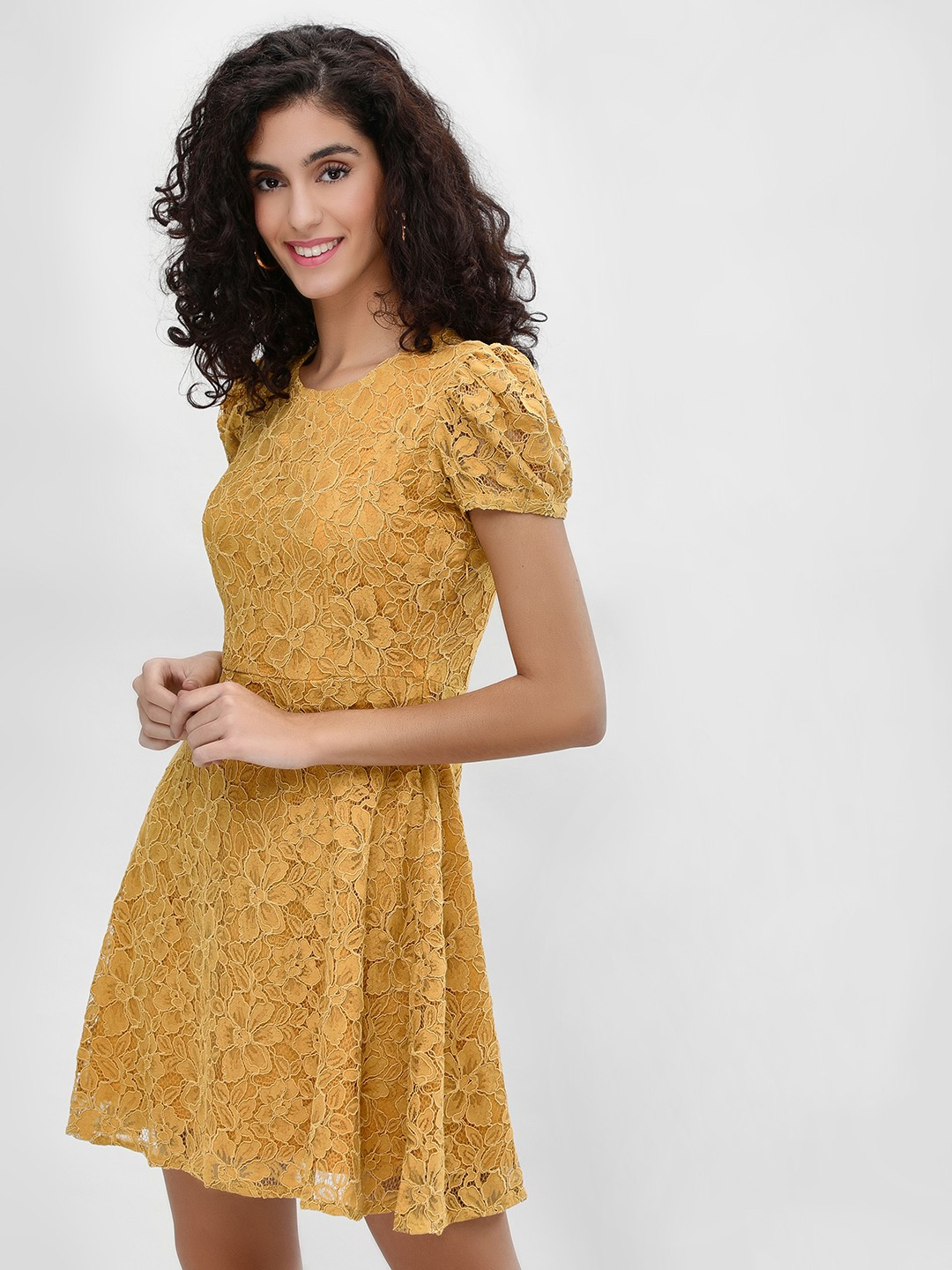 Cover Story Mustard Puffed Sleeve Lace Skater Dress 1