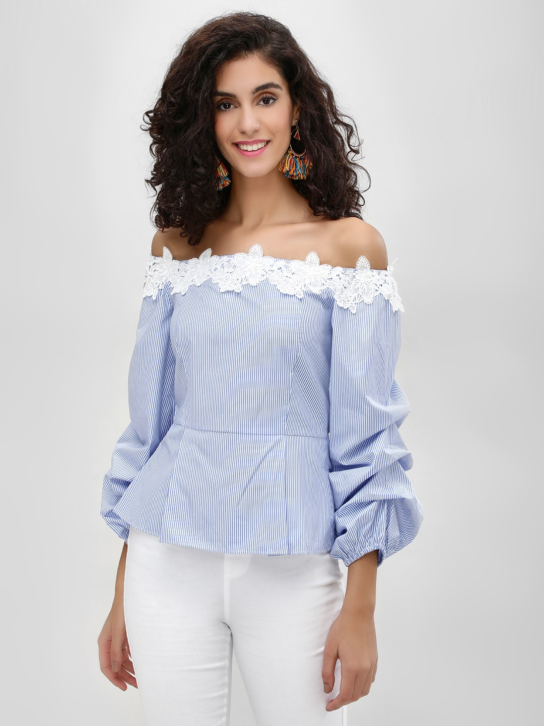 Cover Story Blue Striped Floral Lace Bardot Top 1