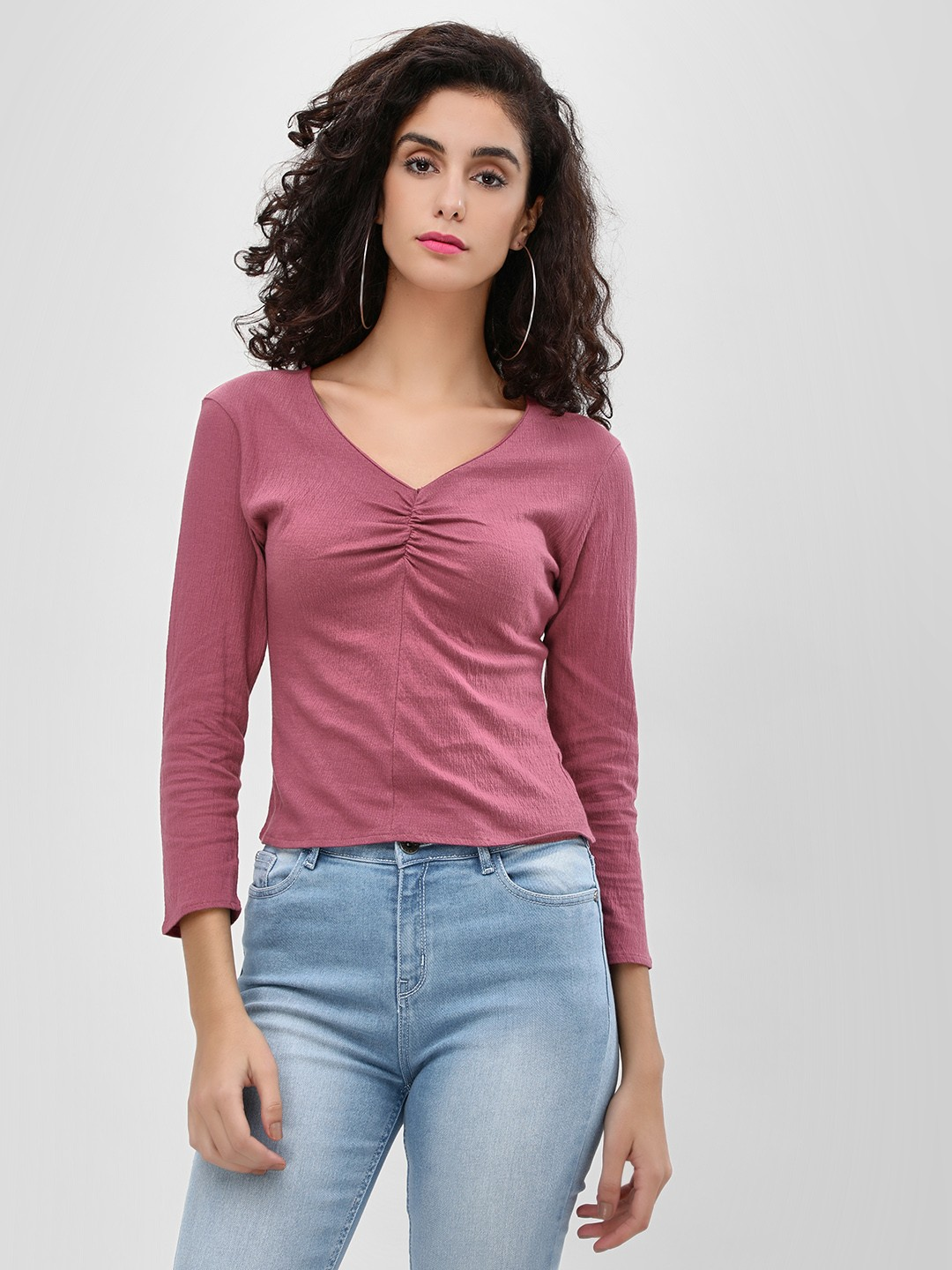 Cover Story PLUM Ruched Front V-Neck Top 1
