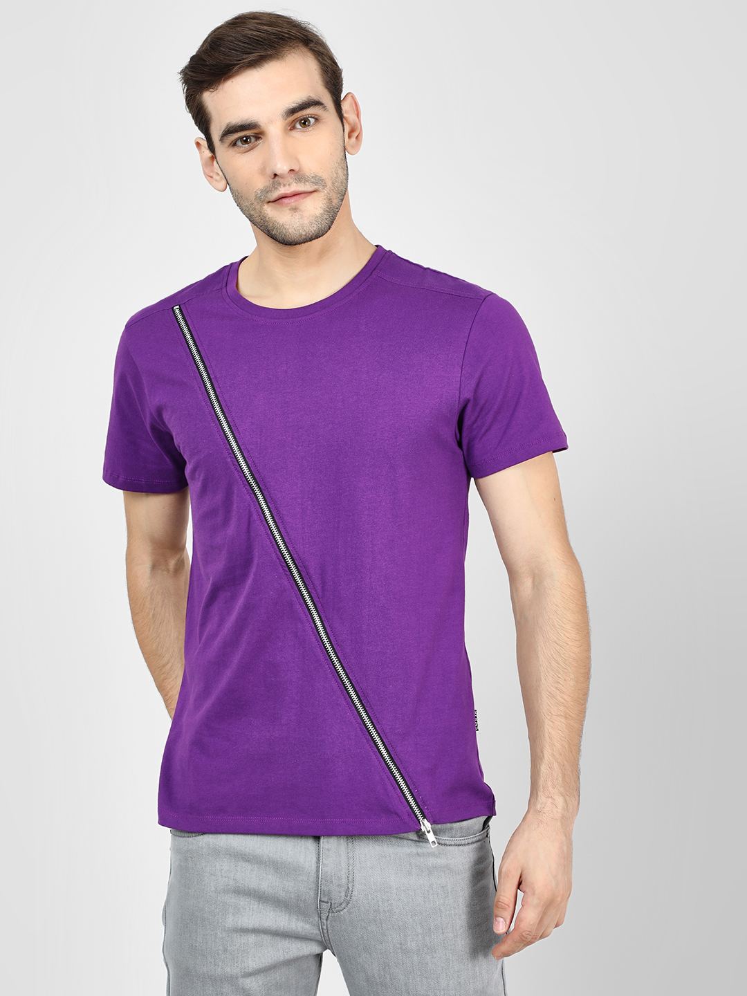 KOOVS Purple Diagonal Zip Detail T-Shirt 1
