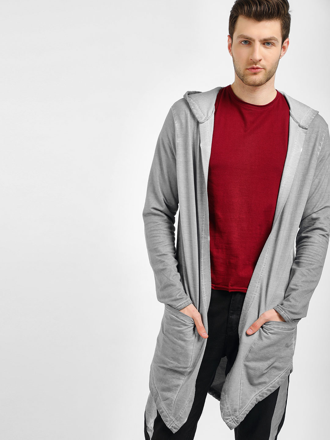 KOOVS Grey Fish Tail Waterfall Cardigan 1