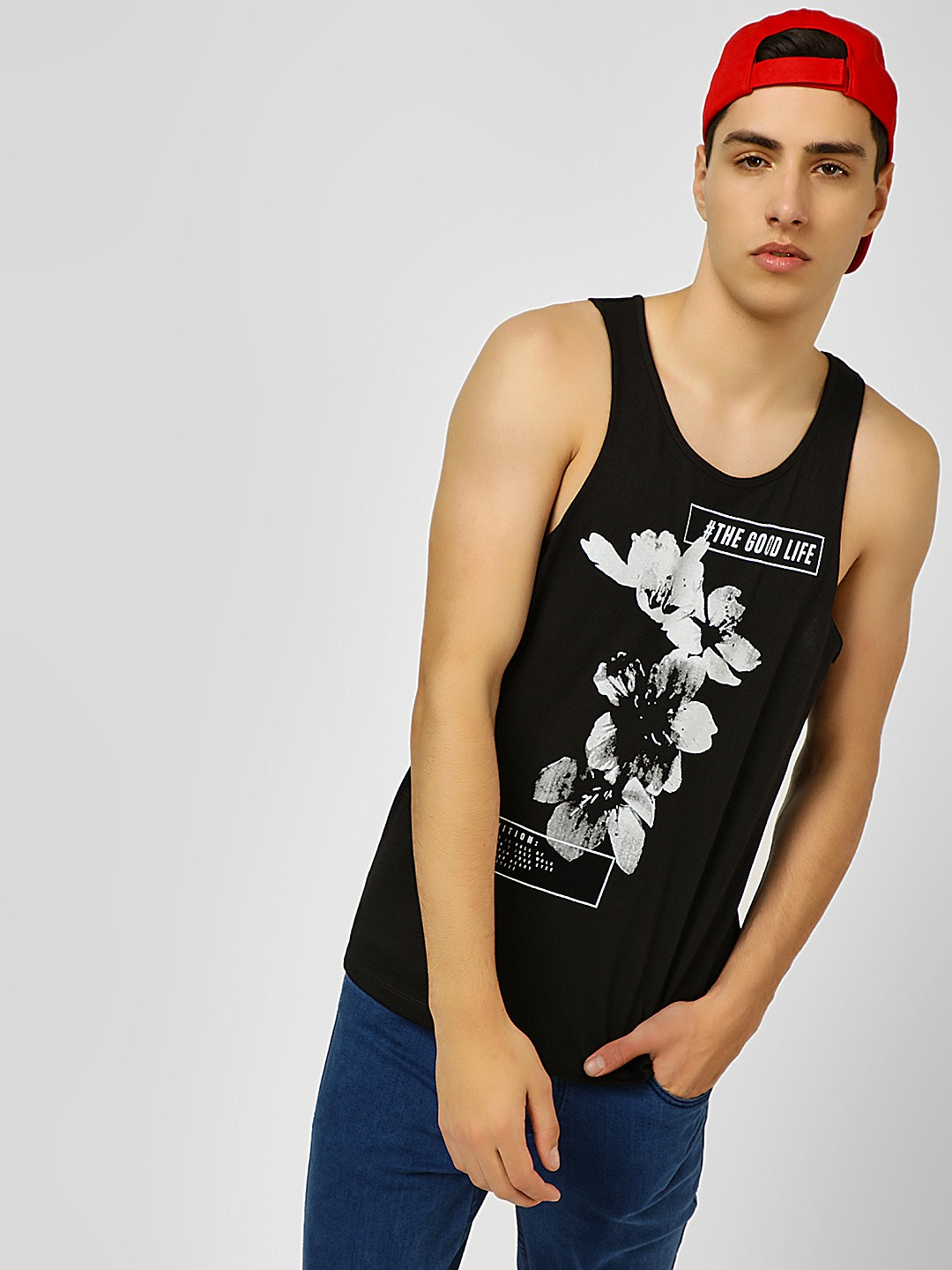 KOOVS Black Slogan Placement Floral Print Vest 1