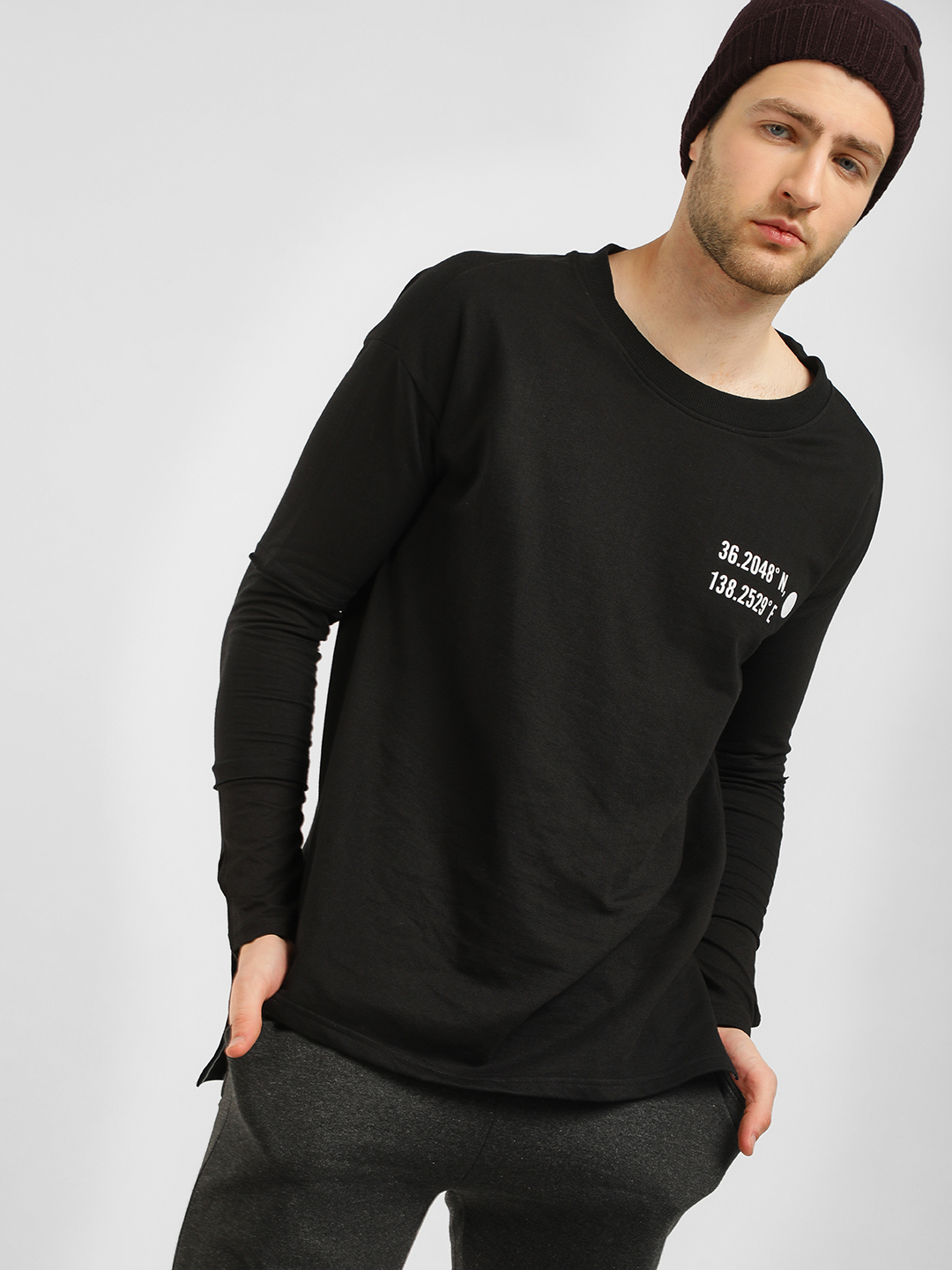 KOOVS Black Long Tier Sleeve Sweatshirt 1