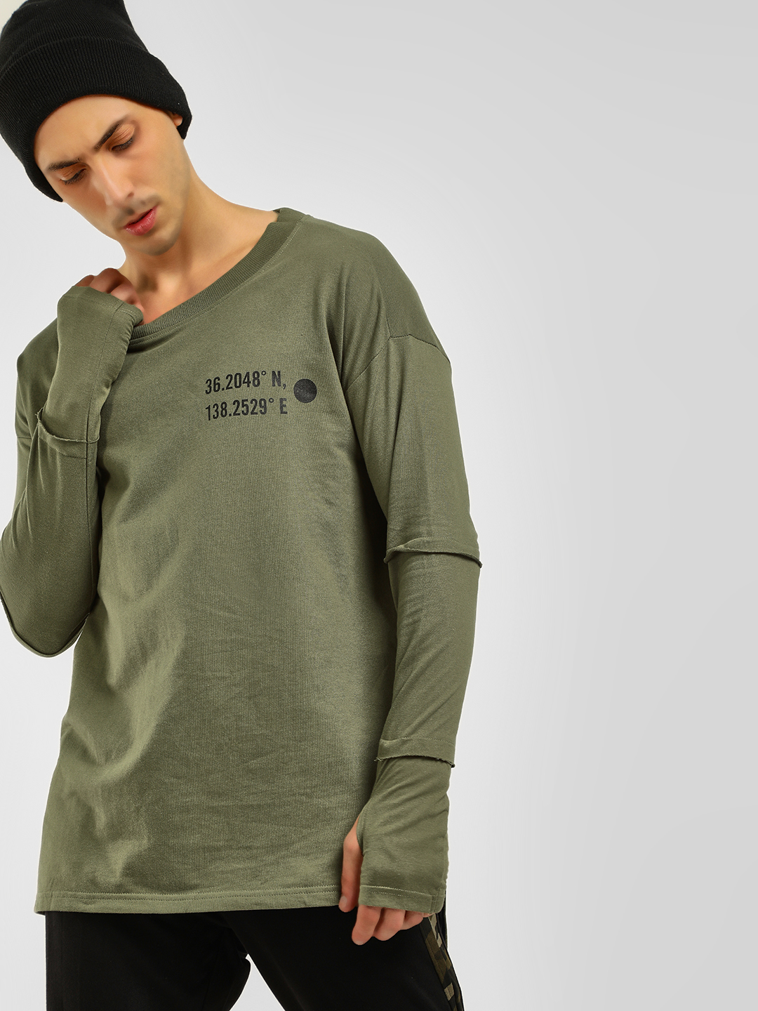 KOOVS Green Thumbhole Tier Sleeve Sweatshirt 1