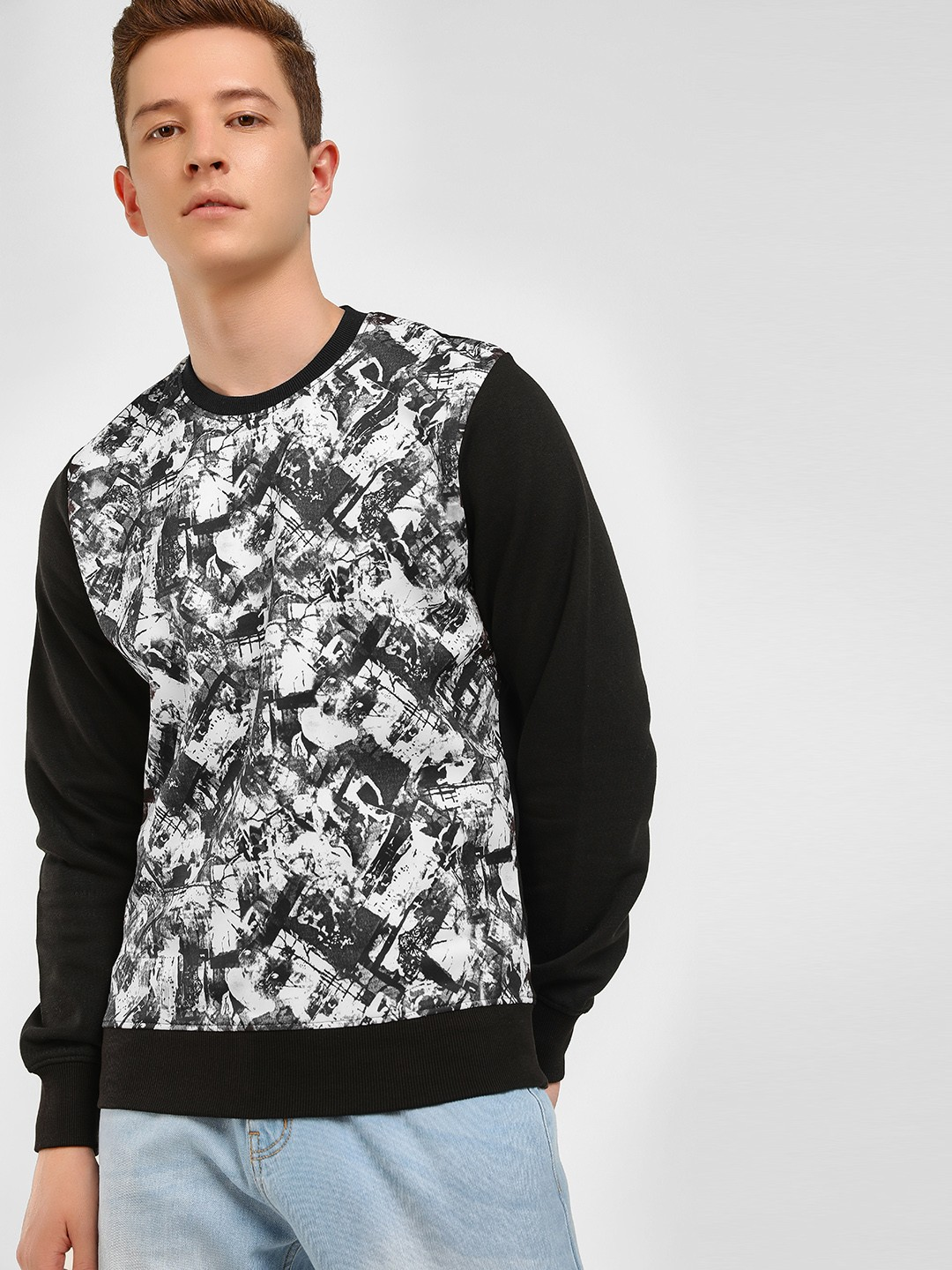 KOOVS Multi Brushstroke Crew Neck Sweatshirt 1
