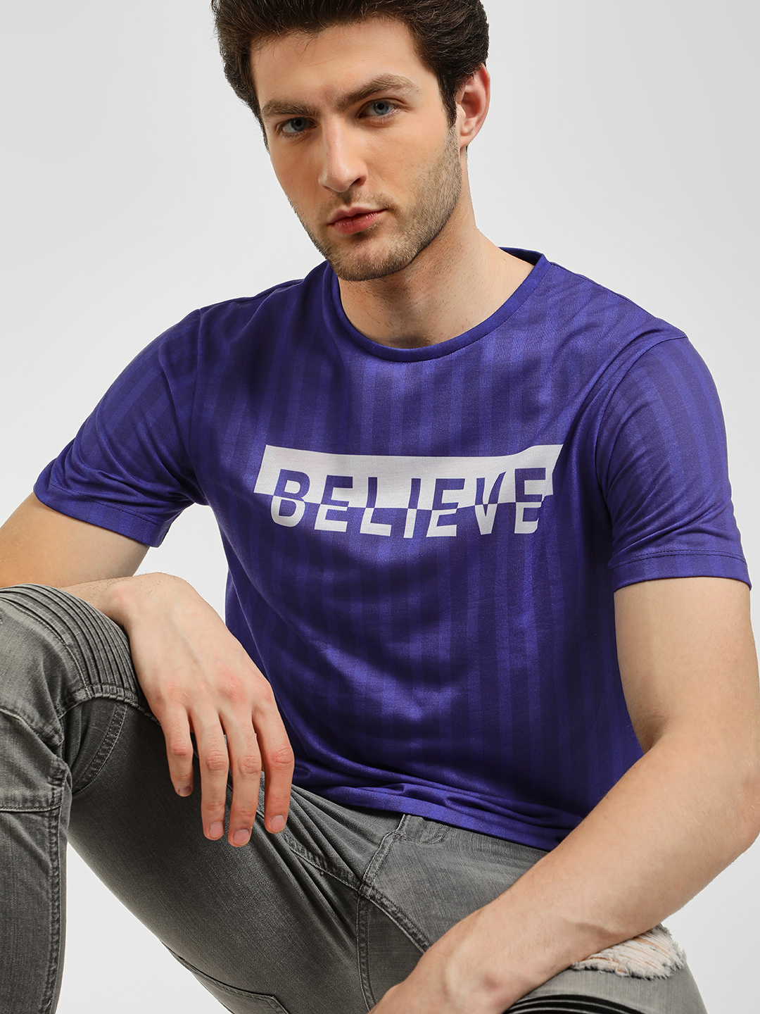 KOOVS Blue Stripe Slogan Print T-Shirt 1