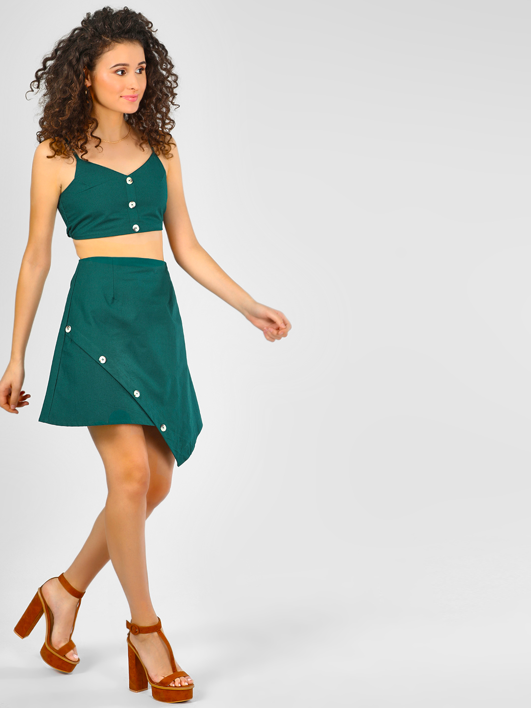 KOOVS DK GREEN Button Detail Asymmetric Mini Skirt 1