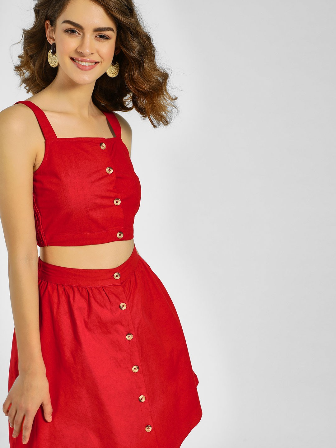 KOOVS Red Button Front Crop Top 1