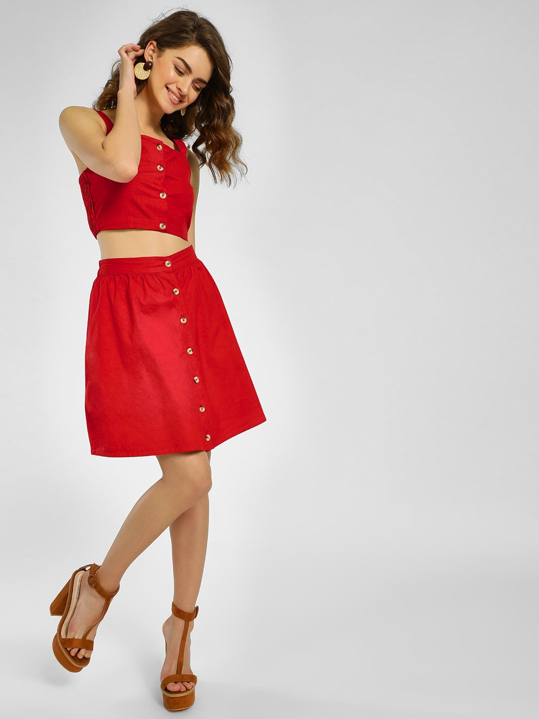 KOOVS Red Button Front A-Line Skirt 1