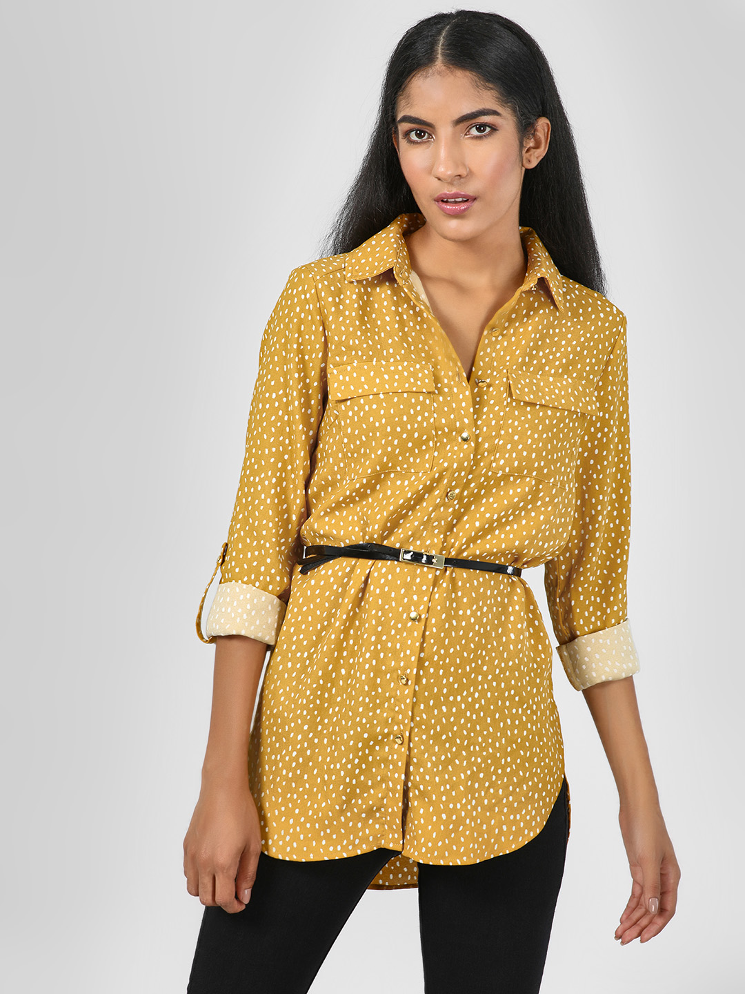 KOOVS Yellow Printed Button-Up Shirt 1