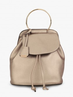 Glamorous Ring Handle Metallic Backpack