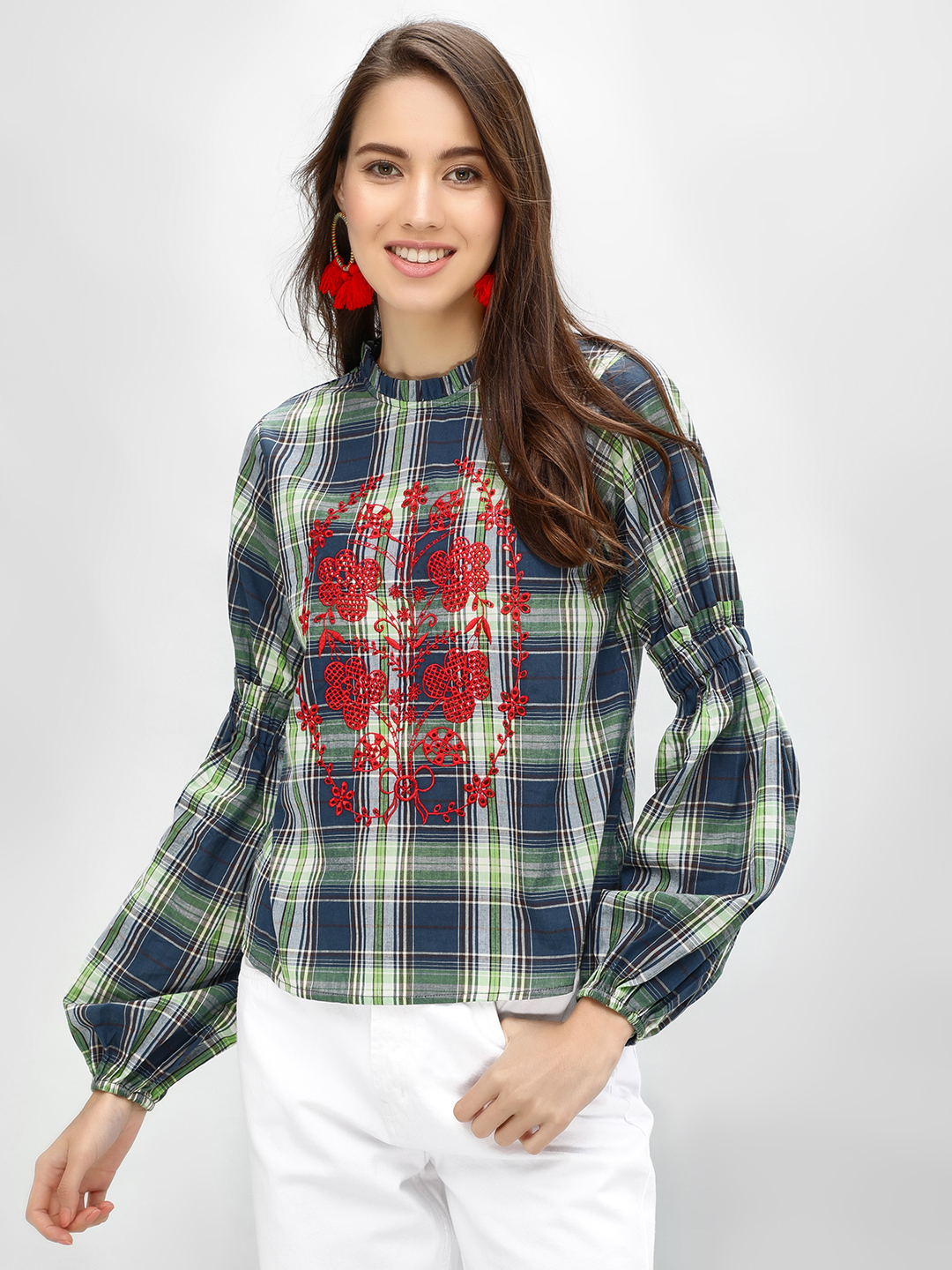 Rena Love Multi Check Blouse With Embroidery 1
