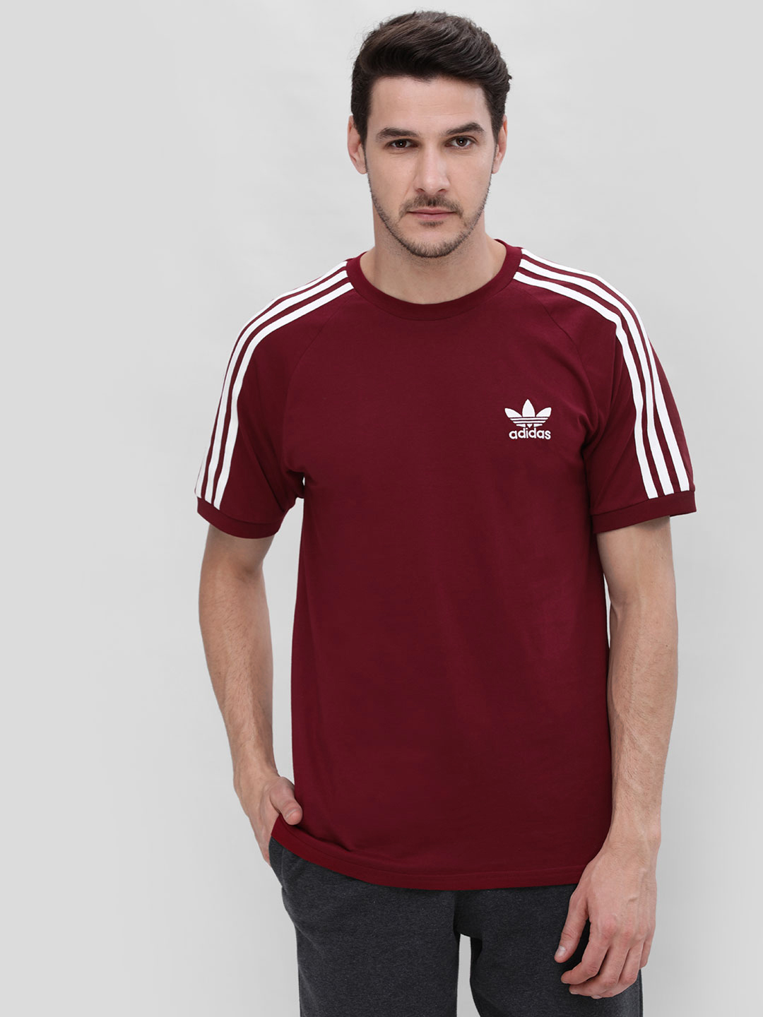 Adidas Originals Red Crew Neck 3-stripes T-Shirt 1