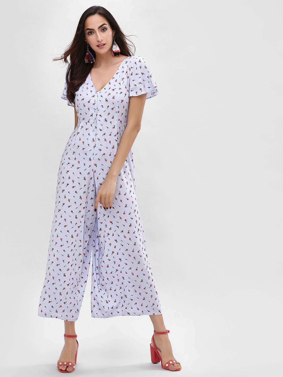 KOOVS Multi Cross-Back Floral Printed Jumpsuit 1