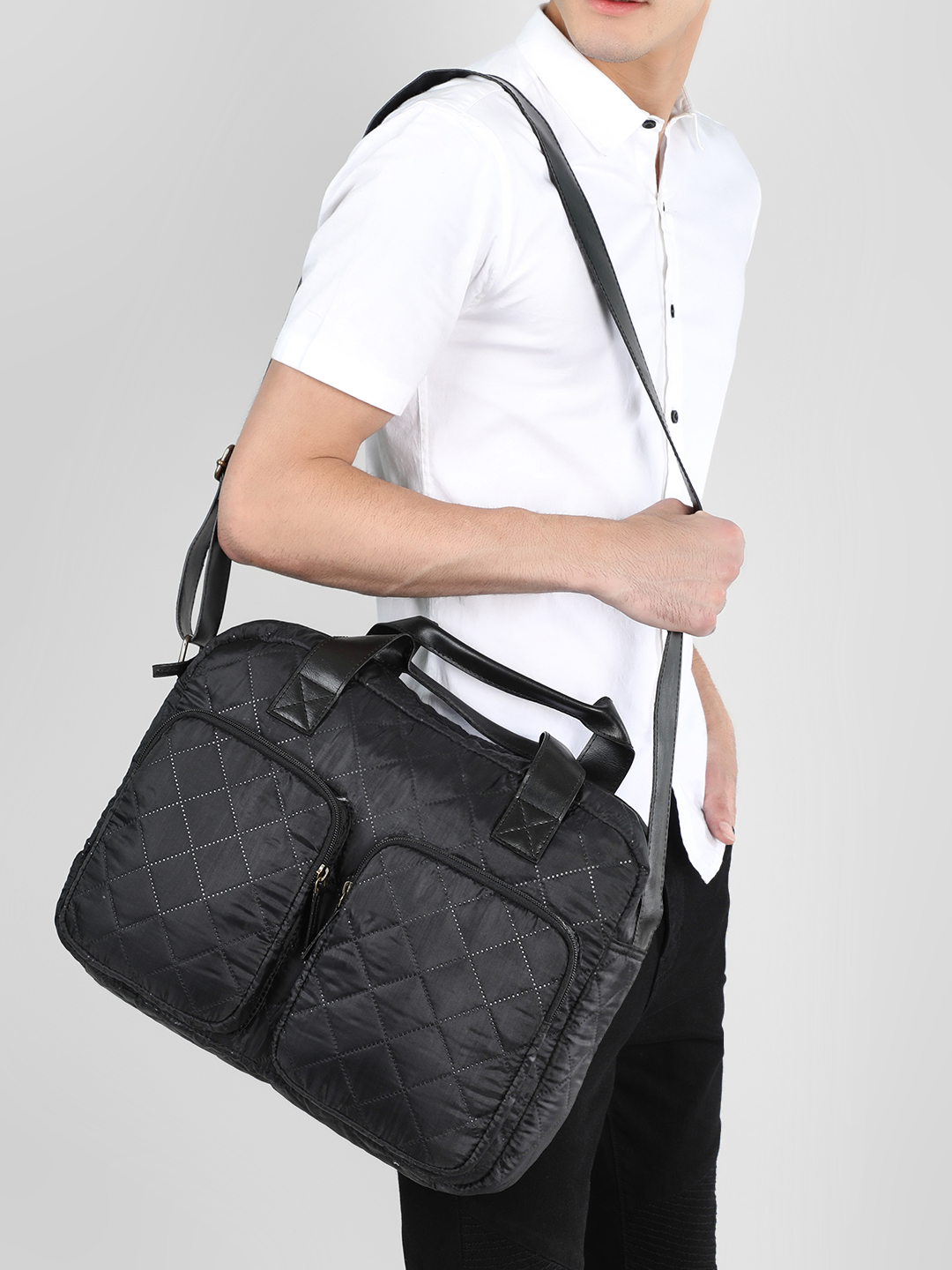 KOOVS Black Quilted Messenger Bag 1