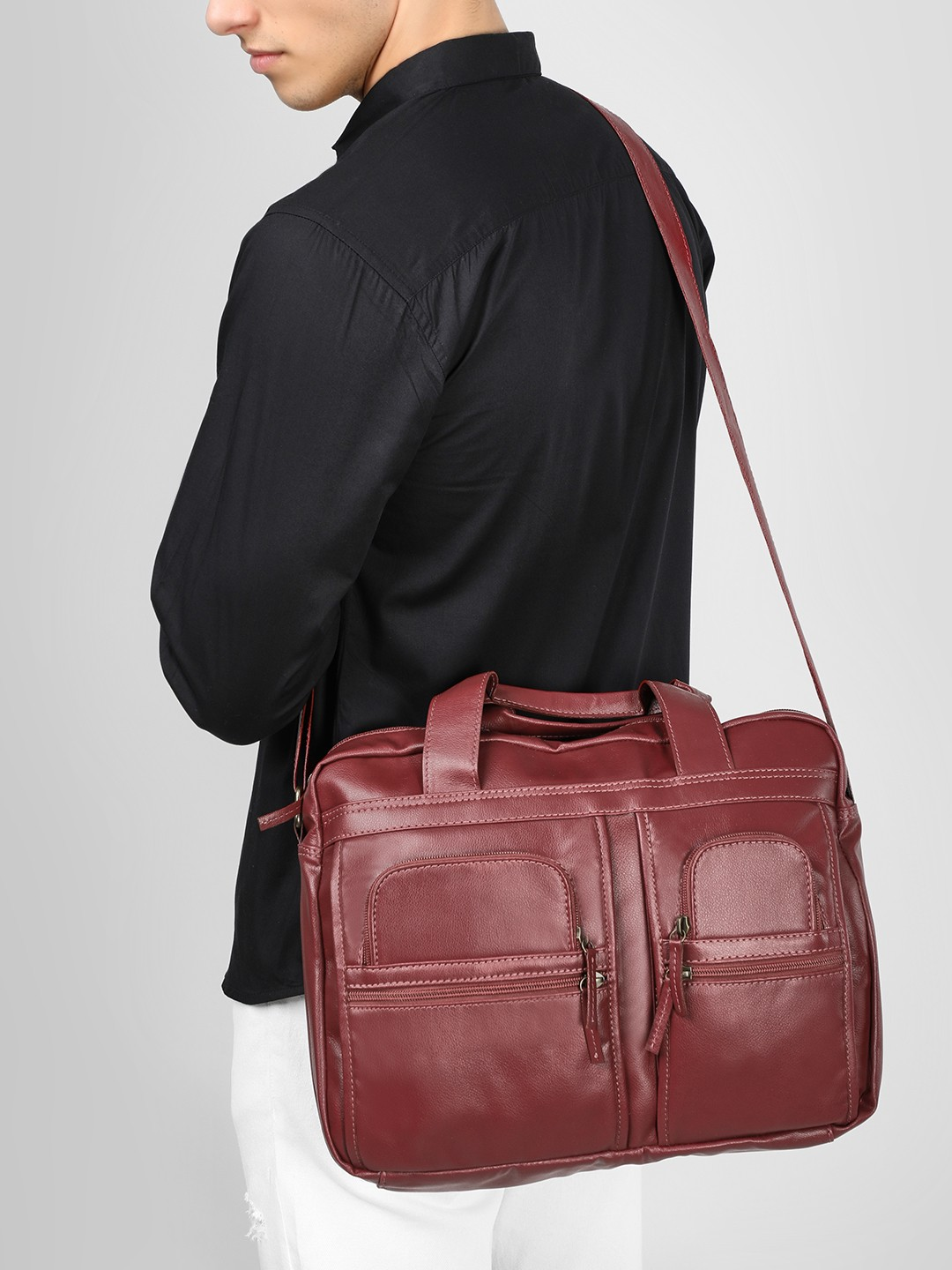 KOOVS Maroon Twin Pocket Messenger Bag 1