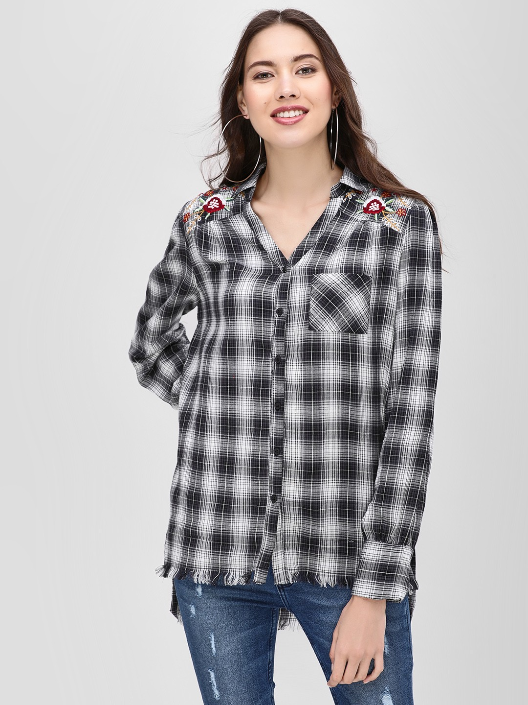 Sbuys Multi Checkered Shirt With Embroidered Back 1