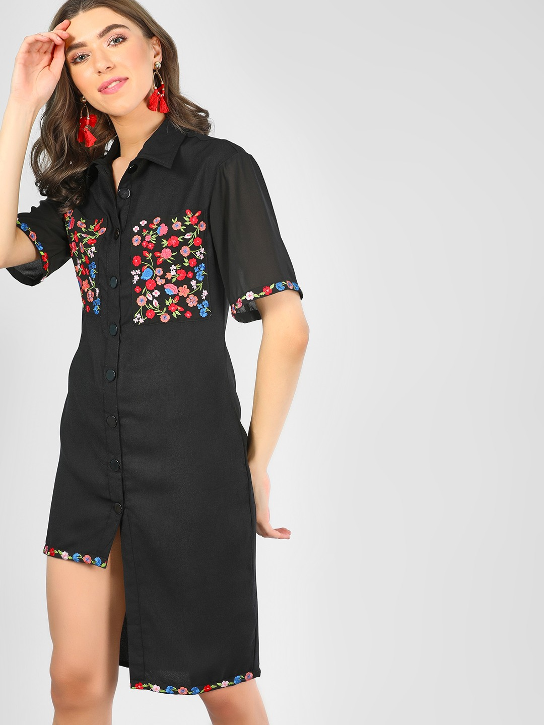 KOOVS Black Shirt Dress With Embroidery 1