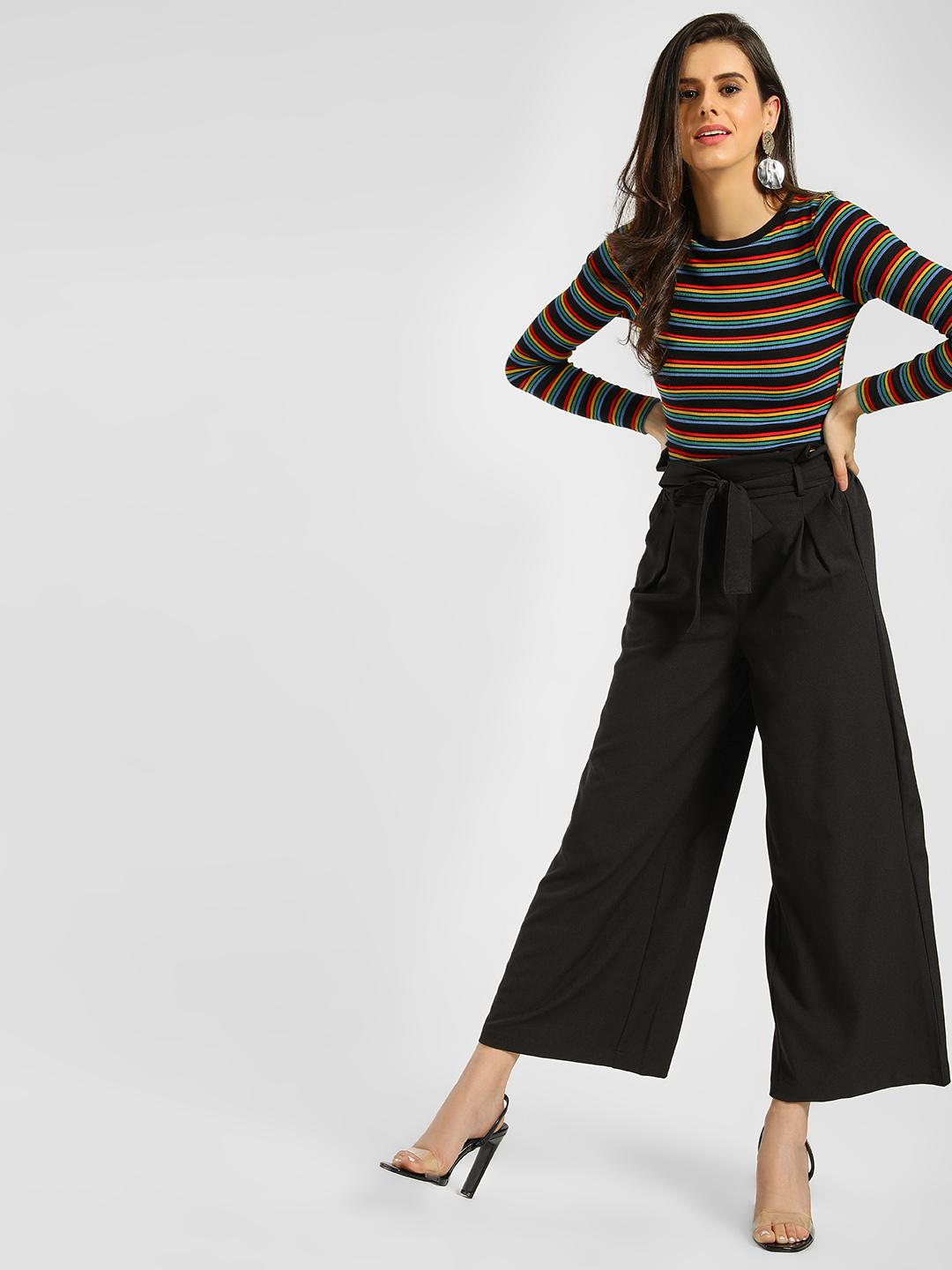 KOOVS Black Basic Paperbag Trousers 1