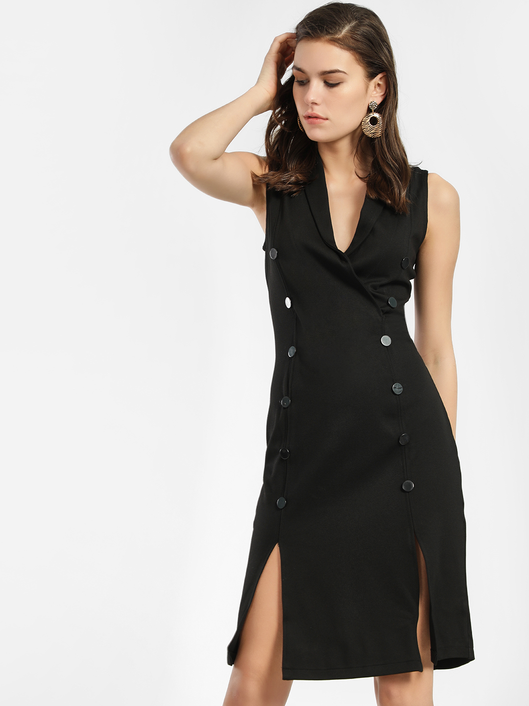 KOOVS Black Tuxedo Split Hem Midi Dress 1
