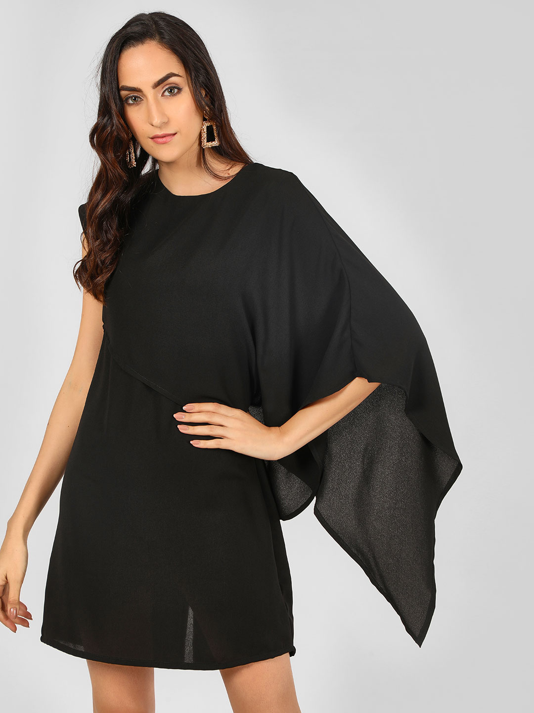 Oliv Black Asymmetric Cape Sleeve Shift Dress 1