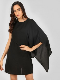 Oliv Asymmetric Cape Sleeve Shift Dress