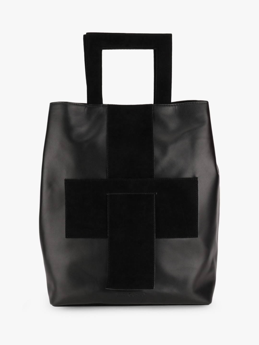 Gusto Black Suede Insert Structured Handle Backpack 1