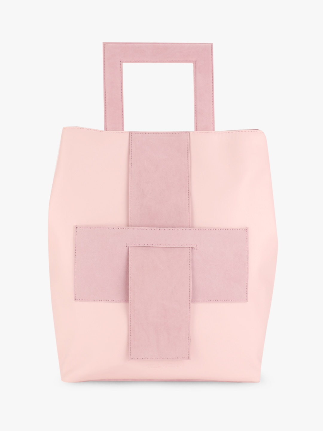 Gusto Pink Suede Insert Structured Handle Backpack 1
