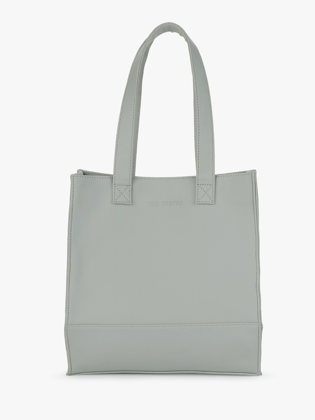 Gusto Grey Basic Structured Tote Bag 1