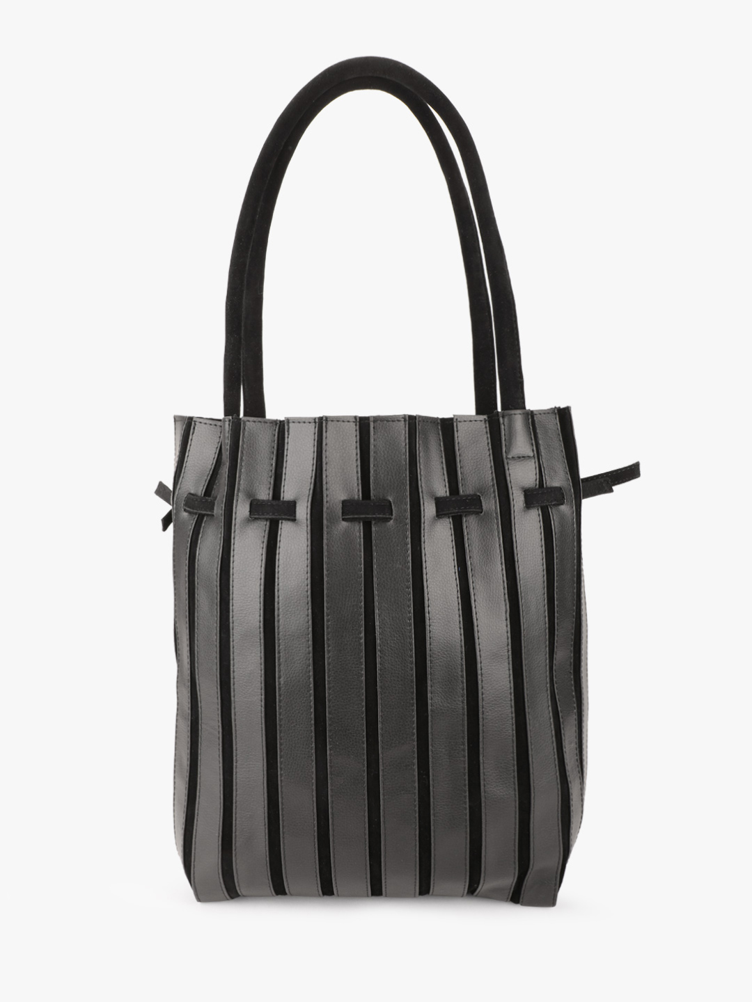 Gusto Black Suede Detail Tote Bag 1