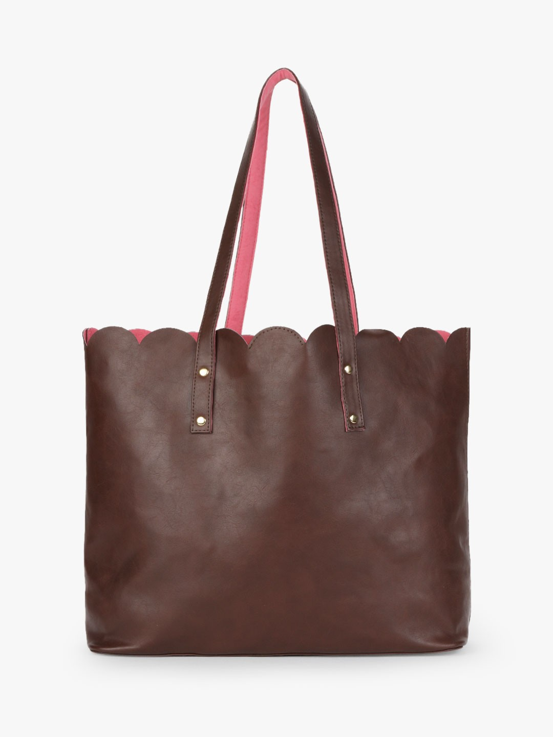 Gusto Brown/Pink Scalloped Tote Bag 1