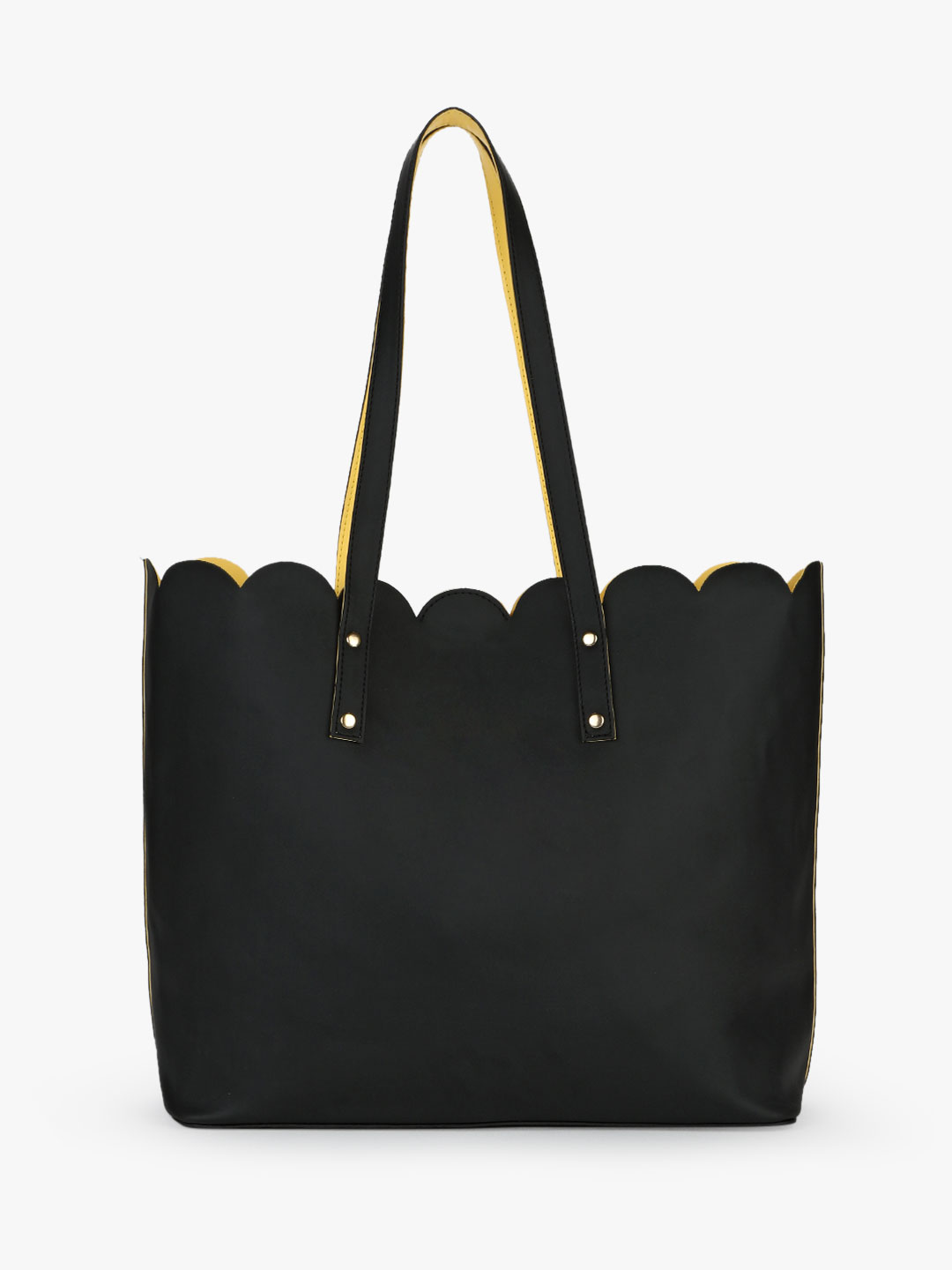 Gusto Black/Yellow Scalloped Tote Bag 1