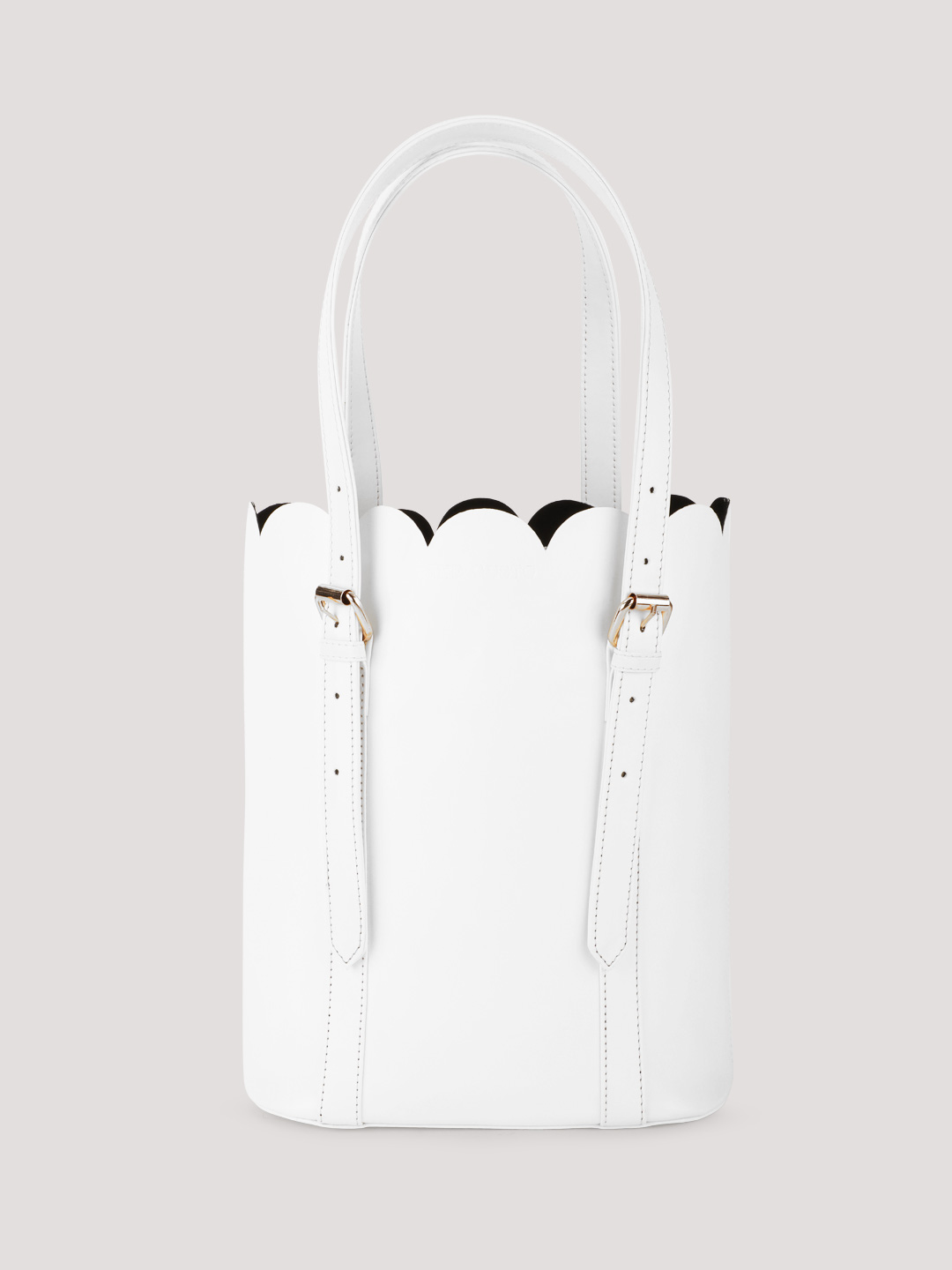 Gusto WHITE/BLACK Scalloped Tote Bag With Buckle Detail 1