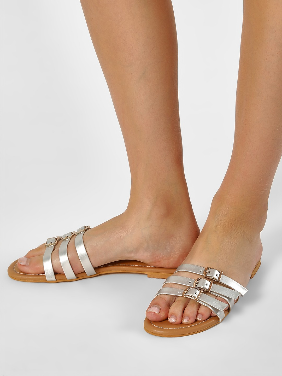 CAi Silver Three Strap Slides With Buckles 1
