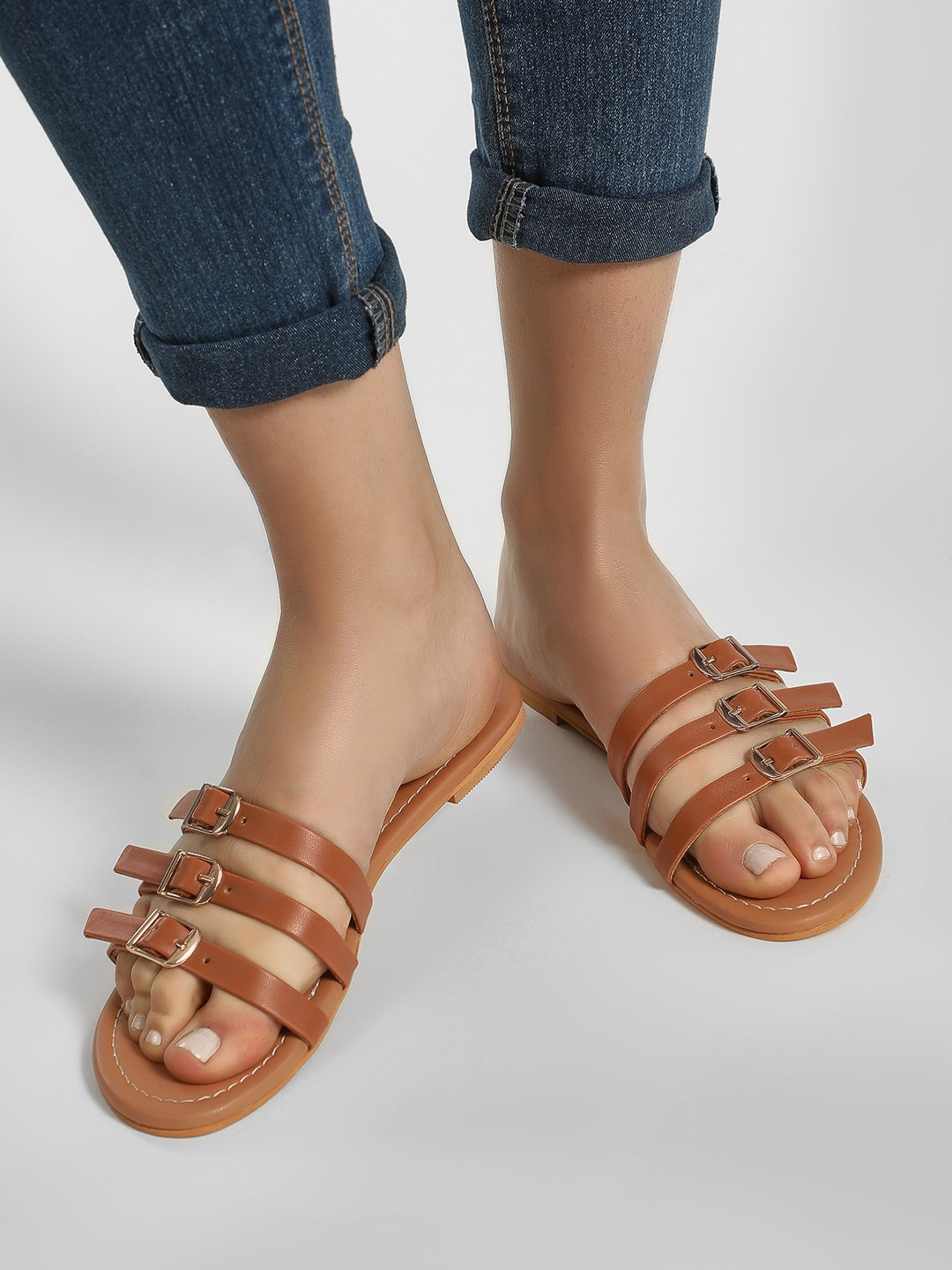 CAi Tan Three Strap Slides With Buckles 1